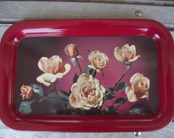 VINTAGE ROSE SERVING Tray,Beverage Tray,Snack Tray,Kitschy Vintage,Kitchen and Dining,Country Kitchen,Vintage Kitchen Trays
