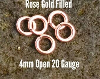 25 ea. 14k Rose Gold Filled 4mm Open Jump Rings 20g ga Gauge