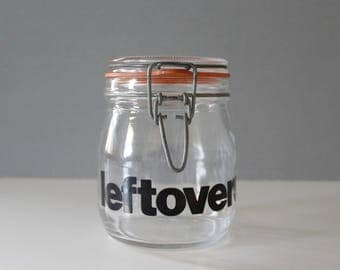 Vintage Glass Leftovers Jar Mid Century Modern Typography Graphic