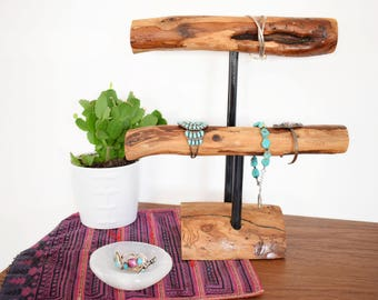 Two Tier Bracelet Stand - Rustic Jewelry Holder