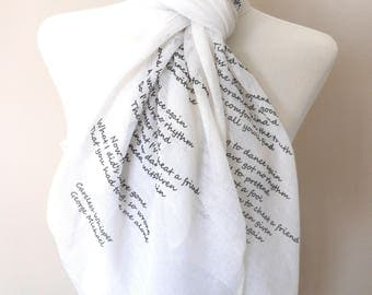 George Michael Scarf. Music lyrics scarf White scarf with 'Careless Whisper' print. Poetry scarf.