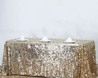 Gold Sequin Tablecloth, Champagne Big Sequin Rectangle Tablecloth, Sparkle  Tablecloth, Glitter Table Cover
