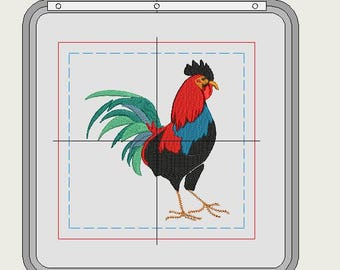 machine embroidery rooster, 2 sizes, 6 x 6 and 4 x 4