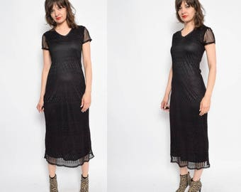 Vintage 90's Black Lace Maxi Dress - Size Extra Small