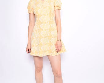 Vintage 70's Yellow Mini Dress / Abstract Yellow Mod Dress - Size Extra Small