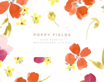 Hand Painted Watercolour Flower Clipart - Poppy Fields