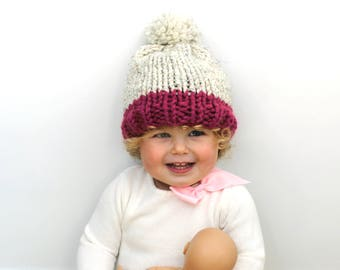 Toque Pom Hat Children, Knit Hat Toddler, Chunky Knitted Baby Pom- Little Annapolis Hat