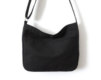 Canvas Hobo Bag Crossbody Bag Slouch Bag Purse Black