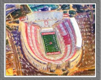 Ohio Stadium From Air, Ohio State University, Columbus, Ohio