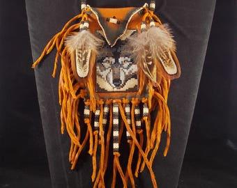 Native American Gray Wolf Portrait Beaded On A Rich Saddle Buckskin Medicine Bag By LJ Greywolf