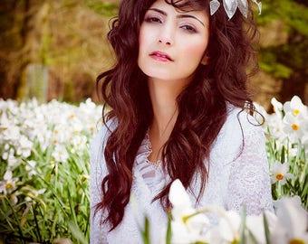 Silver tiara, flower comb, wedding comb, Summer tiara, unique wedding comb