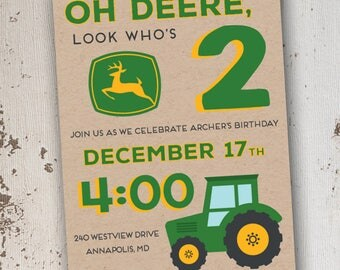 John Deere Tractor Birthday Invitation 5x7: Printable and Customizable