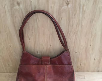 Fossil Brown Leather Satchel - Handbag/Purse with Short Straps
