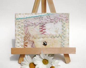 Pastel Crazy Quilt Postcard, Hand Embroidered Postcard, One of a Kind Batik Fabric Postcard, Fibre Art Postcard, Textile Art Postcard