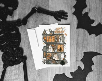 Halloween Haunted House Card - Cute Halloween Greeting Cards - Happy Halloween - Holiday Card - Party Invitation