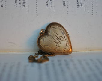 Vintage Gold Filled Heart Locket - 1930s Art Deco Brass Heart Locket