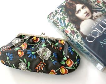 Floral Boho purse, Boho cosmetic bag retro purse, floral case, black clutch printed in flowers, Folk purse
