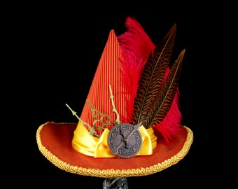 Red and Gold Steampunk and Ostrich Plume Mini Witch Hat, Halloween, Festival Hat, Derby Hat