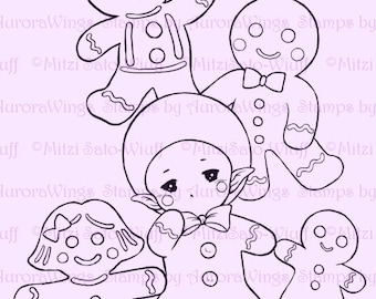 Gingerbread Man Sprite - Aurora Wings Digital Stamp - Christmas Holiday Fairy Image - Line Art for Arts and Crafts by Mitzi Sato-Wiuff