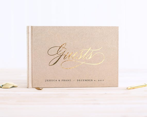 Wedding Guest Book landscape horizontal wedding guestbook wedding album with Real Gold Foil personalized names hardcover guest sign in book