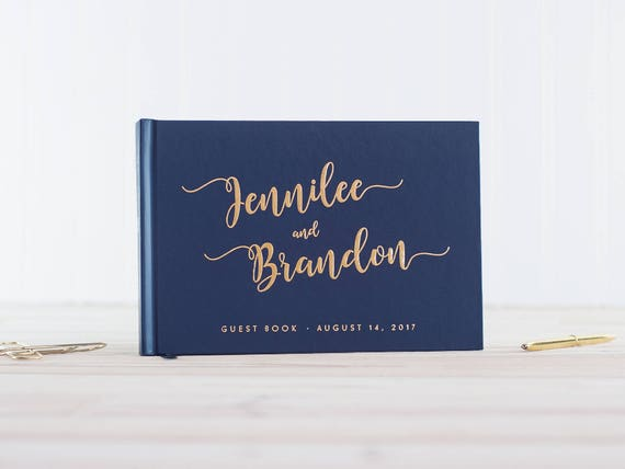 Wedding Guest Book Navy Gold Foil guestbook wedding photo album landscape guest book horizontal wedding album Personalized photo booth book