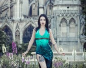 READY TO SHIP. Turquoise studded latex gown