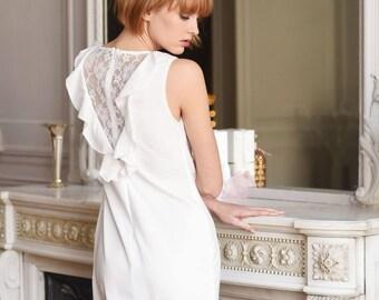 Lined White Chiffon Dress.
