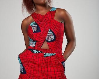 LOUISA African print romper, Ankara romper, african print playsuit african jumpsuit, dashiki romper for women, colorful romper, print romper