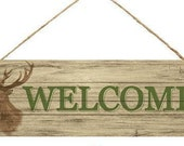 """WELCOME Sign, Deer Sign, Deer Head, Hunter Sign For Wreath, Wreath Supply, Signs With Sayings, Craft, Signs For Home, 15"""", 804199, D13"""