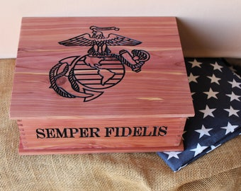 Personalized Marine Corps Letter Keepsake Box - Engraved Wood Box - USMC Gift - Carved Letter Box - Military Gift