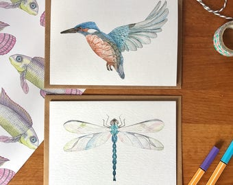 Dragonfly Greetings card - Dragonfly card - Greetings card - Hand drawn Card - Art Card - Dragonfly Art- Mothers Day Card