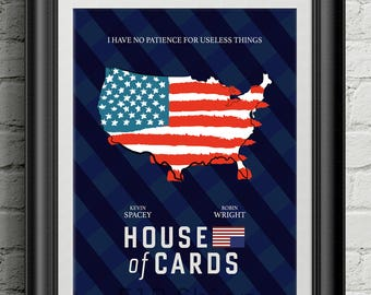 House of Cards - Netflix Kevin Spacey Movie Film Poster Art Print Frank Underwood Wall Decor Poster Motivational Movie Quote