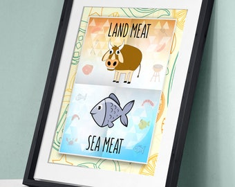 Land Meat / Sea Meat - Steak Seafood Art Print Wall Decor Poster Motivational Quote
