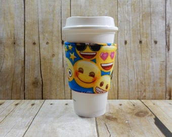 Fabric Coffee Cozy / Emoji Coffee Cozy / Coffee Cozy / Tea Cozy