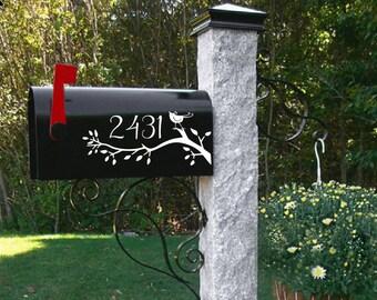 bird Mailbox decal, bird wedding gift, address decal, mailbox sticker, mailbox numbers,Custom Mailbox, Address Vinyl, Curb Appeal,