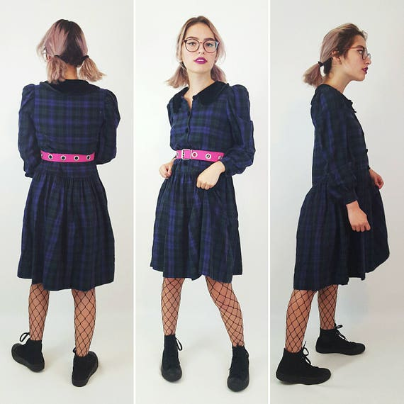90s Vintage Plaid Babydoll Dress Extra Small - Long Sleeve Purple Babydoll Mini Dress - Comfy Cotton Drop Waist Dress with Velvet Collar XS