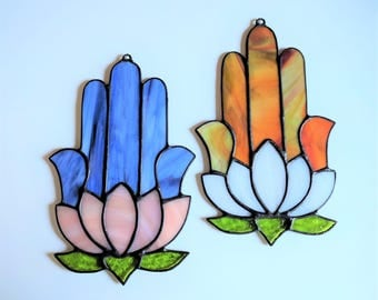 Stained Glass Hamsa with Lotus (#334)
