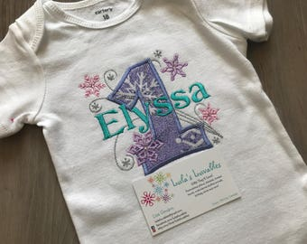 Frozen Snowflake Birthday shirt Ages 1-7