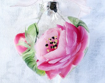 Pink Rose Heart Ornament ~ February Birthday ~ Shabby Rose Ornament ~ Gifts for her ~ Handpainted Roses~ Sweetheart Gift