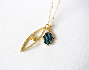 Gold Cz Evil Eye Necklace, Turquoise and Gold Hamsa Necklace, Bohemian Jewelry, Good Luck Necklace, Birthday Necklace, Beaded Necklace