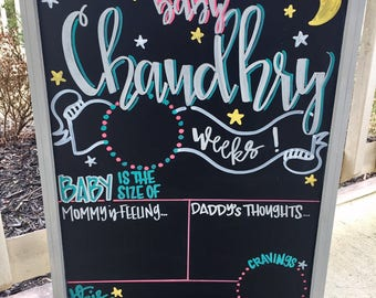 Weekly pregnancy signs, weekly pregnancy chalkboard, Personalized Week by Week Chalkboard Sign, Pregnancy Countdown, Pregnancy Announcement