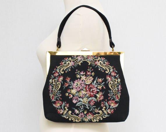 Vintage 1960s Black Floral Print Tapestry Handbag