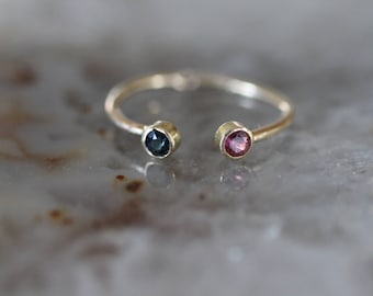 Blue Green and Pink Tourmaline Adjustable 14k Gold Ring