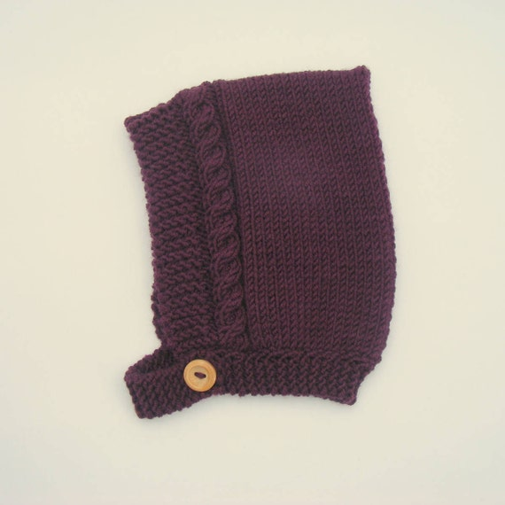 Cable Knit Pixie Hat in Plum