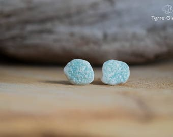 Ceramic earrings, ceramic jewelry, ear chips, porcelain, handmade, turquoise, texture,  stainless steel
