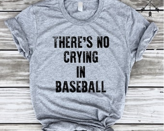 There's No Crying In Baseball Heather Grey Unisex Tee, Baseball, Team Mom