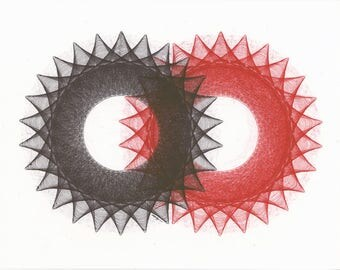 Red Abstract Art, Minimal Geometric Art, Pen & Ink Drawing, Red Original Art, Circle Art Red Black Abstract, Two Duality, Symbolic Art 11x14