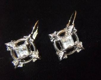 Estate Find Silver Finish and Rhinestone Earrings, Lever Back, Fleur-De-Lis
