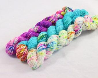 Mini skein set, hand dyed yarn, mini skein, sock yarn mini, fingering weight, hand dyed mini skein, sock yarn mini, speckled mini skein