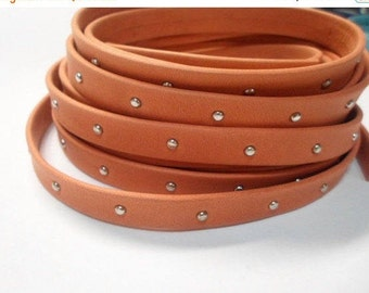 2 Feet, No Joins,  Arizona 10mm Orange with Silver Tacks Leather Cord, Jewelry finding  Studded